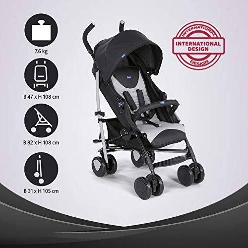 Chicco - Poussette Canne Echo Complete - Poussette avec Bumper Bar, Compacte, Inclinable 5 positions...