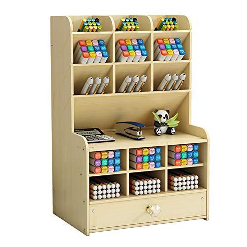 Organizador de escritorio de madera con cajón, soporte para bolígrafos de escritorio, papelería, organizador de bolígrafos para suministros de oficina, hogar y escuela (B16-White Maple)