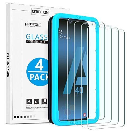 OMOTON [4 Stück] Schutzfolie Panzerglas für Samsung Galaxy A40, mit Schablone, 9H Härte, Anti-Kratzen, Anti-Öl, Anti-Bläschen, 2.5D Kante