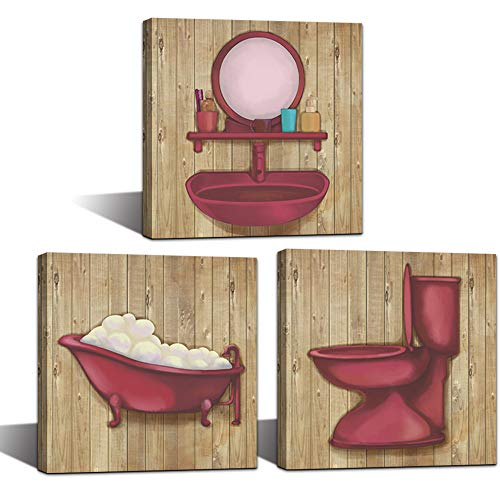 LoveHouse Bathroom Canvas Wall Art Prints Rustic Bath Sets Red Wall Decor Still Life Picture Poster Print On Canvas for Home Shower Room Decoration Stretched Framed Ready to Hang 12x12inchx3panel