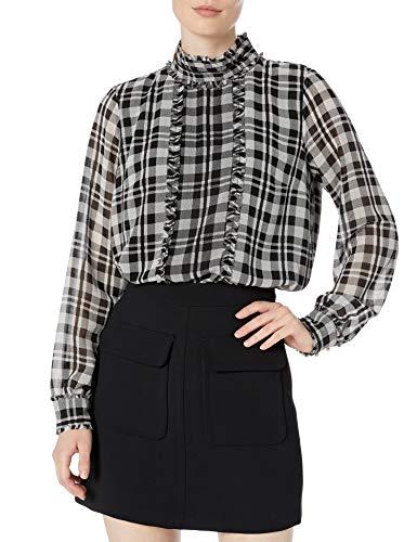KARL LAGERFELD Paris Damen Long Sleeve Mock Neck Collar with Pleating Hemd, Schwarz-Weiß-Kombi, Mittel