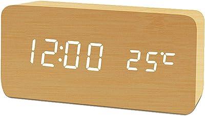 YSHMJ Reloj Despertador Digital, con Pantalla De Tiempo LED Electrónica De Madera, 3 Configuraciones