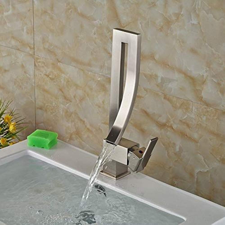 U-Enjoy U-Enjoy U-Enjoy Chandelier Chrome Brass Elegant Bathroom Faucet Top Quality Luxury Square Sink Mixer Tap Mounted Hot and Deck Cold Mixer Tap Faucet Free Shipping [Nickel] 63b3ab