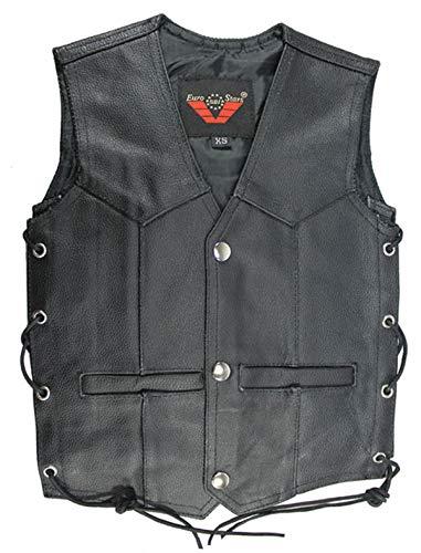EURO STARS Kinder Button Lederweste, Leather Vest black (2XL, Schwarz)