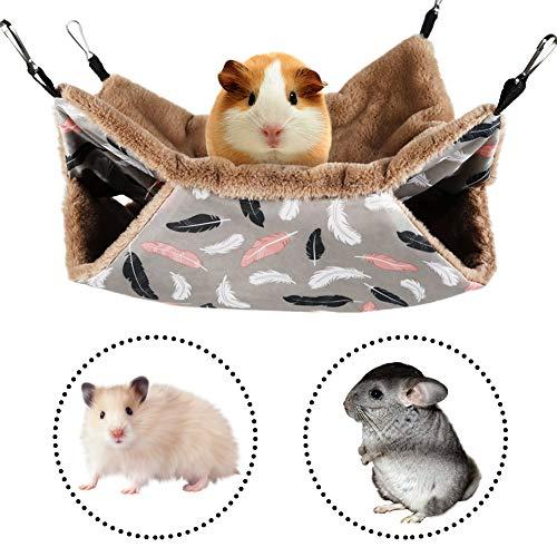 FANDE Kleine Tiere-Hängematte, Haustiere Käfig Hängematte, Hängematte für Kleintierkäfig, Hamsterkäfig-Zubehör, Hängebett für Süße Hamster, Frettchen, Papageien, Meerschweinchen (34 x 34 cm)