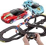 BJINDH 1:43 Scale Slot Racing Carring Set Orbit Modelo Rail Car Race 7.1m Racing Racing with Light Educational Car R/C High Speed Remote Control Peach Juego de Autos for Boy Cumpleaños Presente