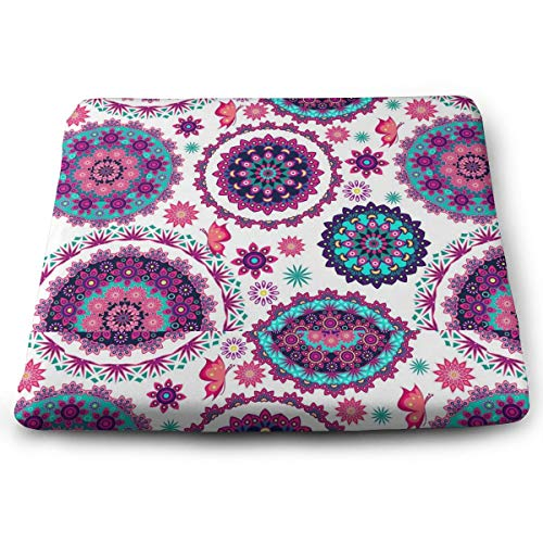 Memory Foam Pad zitkussen. Autostoel kussens om hoogte te verhogen - bureaustoel comfortabel kussen - gekleurde mooie Mandala