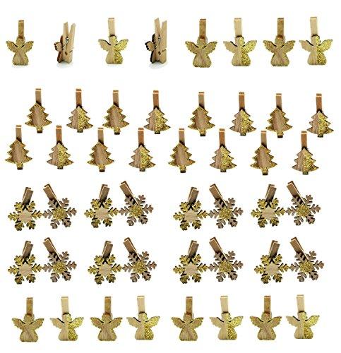 48 x Dekoklammer Engel Tanne Schneeflocke mit Glitzer Klammer H 5 cm x B 3 cm Holz