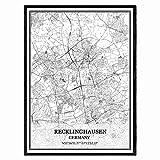 Recklinghausen Deutschland Karte Wandkunst Leinwand drucken