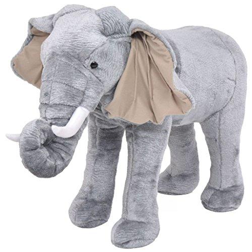 Festnight- Plüschtiere Stehend Elephant Grau XXL