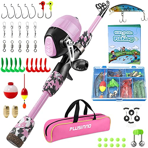 PLUSINNO Kids Fishing Pole with Spincast Reel Telescopic Fishing Rod Combo Full Kits for Boys, Girls, and Adults (Pink, 120cm 47.24In)