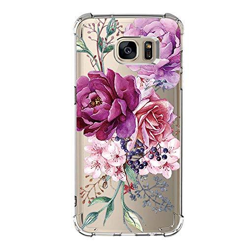 Pacyer Funda compatible Samsung Galaxy S7/S7 Edge, Cristal Claro Absorción TPU Parte Trasera Dura Anti-Estático Anti-Rasguño Anti-Golpes Refuerzo de Grosor Evitar Caídas Transparente (S7 edge, 10)