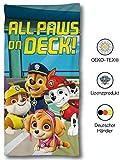 SkyBrands Paw Patrol Handtuch Blau für Kinder | Duschhandtuch Paw Patrol Jungen & Mädchen 75x150 cm | Weiches Strandlaken aus Baumwolle/Mikrofaser