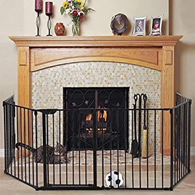 JAXPETY 132-Inch Wide Configurable Baby Gate, Guard Adjustable 6-Panel Metal Play Yard, Fireplace Safety Fence Gate for Toddler, Pet, Dog, Christmas Tree, Black by JAXPETY