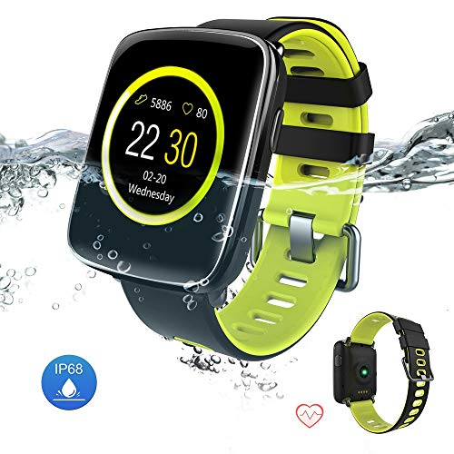 Yarrashop Smartwatch, Fitness Touchscreen Uhr IP68 Wasserdicht Armbanduhr, Pulsmesser Schlafmonitor Tracker Sportuhr Schrittzähler Stoppuhr für Damen Herren Smart Watches für iOS Android