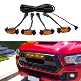 Seven Sparta Led Lights 4 PCS with Fuse for 2016-2018 Aftermarket Toyota Tacoma TRD PRO Grille (Amber Shell with Amber Light)