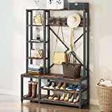 Tribesigns 4-in-1 Entryway Hall Tree with Side Storage Shelves, Industrial Wooden Entryway Bench with Coat Rack, Storage Shelving with Shoe Bench/5 Hooks for Bedroom, Sturdy and Easy Assembly