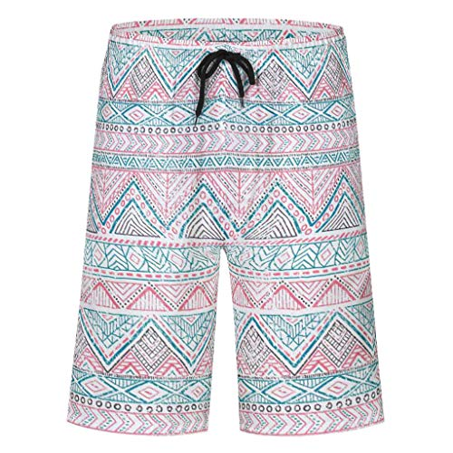 Bannihorse – Bañador para niño – Pantalones de verano – Moda de playa de secado rápido – Bañador con cordón ajustable bolsillos sin slip interior blanco L
