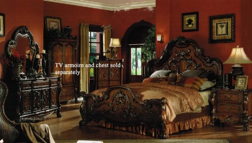 Acme Furniture 4pc King Size Bedroom Set in Brown Cherry Finish