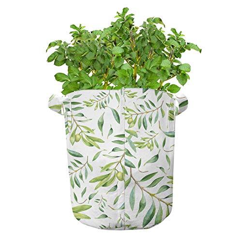 ABAKUHAUS Groen blad Groeizakken, Olijfboom, set van 7 Zwaar Uitgevoerde Zak van Textiel voor Planten, met Handgrepen, 26 liter, avocado Green
