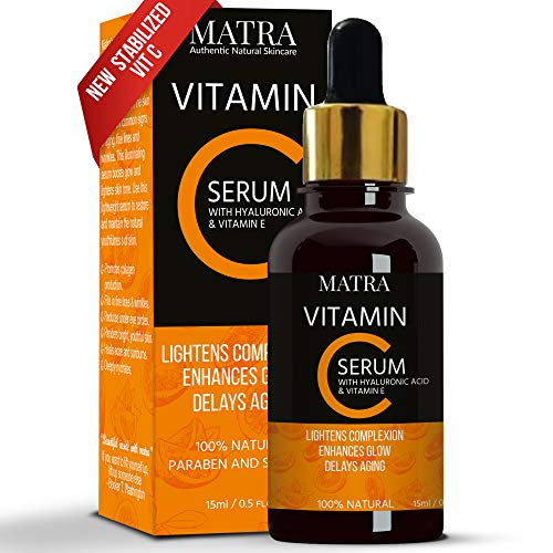 Matra Naturals Vitamin C Ultra Glow Serum with Hyaluronic Acid & Vit E for Skin Lightening & Anti-aging, 15ml