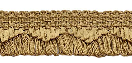 DÉCOPRO 21.9 Meter Package|Decorative Camel Gold, Dark Gold Scalloped Loop Fringe/Braid|35mm|Style# 9115 Color: E16 (D1)|72 Ft / 24 Yards