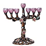 YU FENG 7 Branch Hanukkah Menorah Candle Holders Tree of Flowers Antique Menorah Candlestick Holder