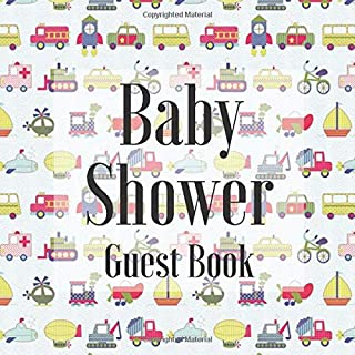 Baby Shower Guest Book: Cars Vehicles Rocket Helicopter Plane Theme - Gender Reveal Boy Girl Signing Sign In Guestbook, Welcome New Baby with Gift ... Prediction, Advice Wishes, Photo Milestones