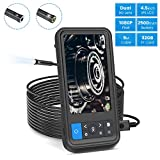 "ROTEK Inspection Camera,1080P Dual Lens Borescope with 6 LED Lights,4.5""Screen 16.4 inch Waterproof Semi-Rigid Cable Endoscope with 32GB Memory Card and 2500mAh Battery"