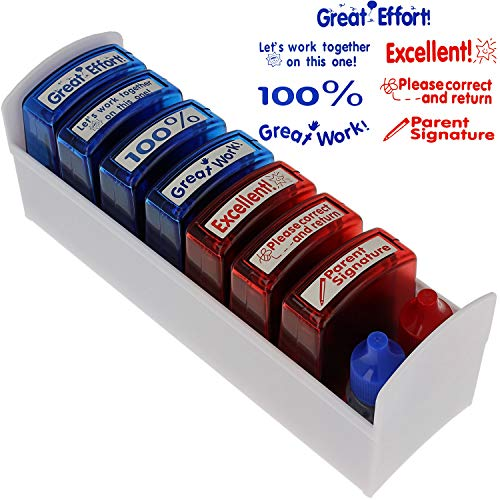 Teacher Stamp Set - Motivation School Classroom Homework Grading - Refill Ink Included -7 Stamps Plus Red and Blue Ink Bottle - Storage Tray Included