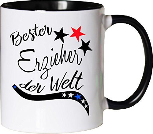 Mister Merchandise Becher Tasse Bester Erzieher der Welt. Kaffee Kaffeetasse liebevoll Bedruckt Beruf Job Arbeit Weiß-Schwarz