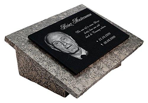 LaserArt24 Granit Grabstein, Grabplatte oder Grabschmuck mit dem Motiv Grabstein-gg11s und Ihrem Foto/Text und Daten