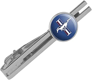 GRAPHICS & MORE Ford Mustang Logo Round Tie Bar Clip Clasp Tack Silver Color Plated