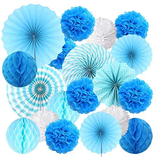 19 Piezas Colgando Ventilador Abanicos de Papel Pompones de Papel Bola de Nido, Flores de Papel para Cumpleaños Boda Carnaval Bebé Ducha Home Party Supplies Fiesta Decoración (Azul)
