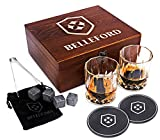 BELLEFORD Whiskey Stones & Whiskey Glass Set of 2 Whisky Bourbon Glasses and 8 Scotch Wisky Granite Ice Cubes - Alcohol, Liquor, Wiskey, Wine Accessory Gifts for Men - Large Shot Bar-Ware Kit for Dad