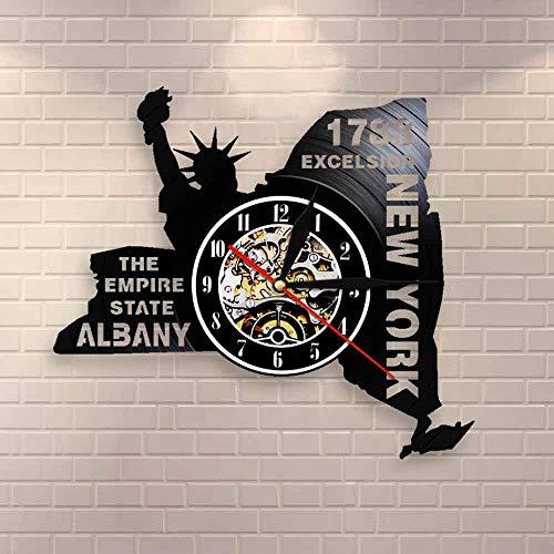 wtnhz LED Reloj de Pared de Vinilo Colorido Reloj de Pared con Disco de Vinilo, Reloj de Pared Moderno de Nueva York, Reloj Decorativo de la Estatua de la Libertad