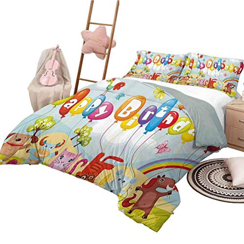 Birthday Decorations for Kids Three Piece Duvet Cover Sets Farm Life Animals Balloons Rainbow Clouds Village Theme Party Funny Sleeping Fashion Queen Size