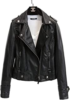 Women's Long Sleeve Zipper Closure Motorcycle Biker Faux Leather Jacket Coat