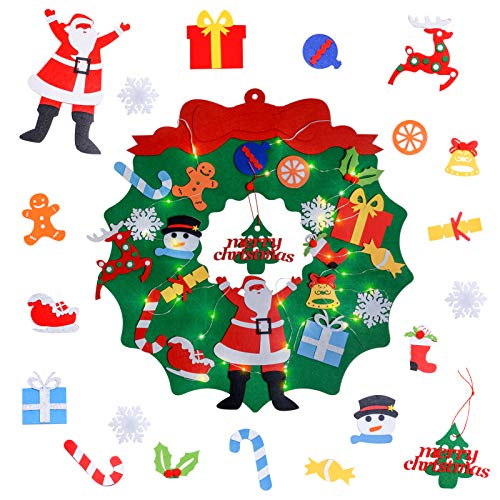 Urslif DearHouse DIY Felt Christmas Tree Set, 26pcs Detachable Ornaments, Xmas Gifts for Kids New Year Handmade Christmas Door Wall Hanging Decorations (Stile-1)