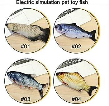 Queta Pet Chat électrique Poisson Simulation sautant en Peluche Jouet de Chat de Poisson électrique USB avec cataire, interactif à Jouer (Carpe Herbivore)