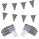 98ft Checkered Black & White Pennant Banner Racing Flags and 20Pcs 11.8 Inch Racing Flags with Plastic Sticks for Racing Party Supplies by HRLORKC