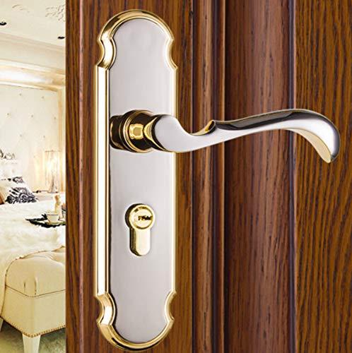 WANDOM Europese stijl eenvoudige slaapkamer houten deur binnen handvat slot set gouden deur slot drie-delige - geweer kamer goud + schommel scharnier + deur zuignap