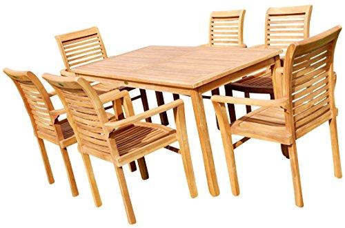TEAK Set Gartentisch + 6 Sessel ALPEN von AS-S