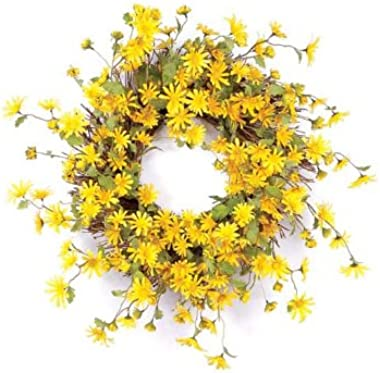 CC Home Furnishings Yellow and Green Artificial Daisy Wreath 23""