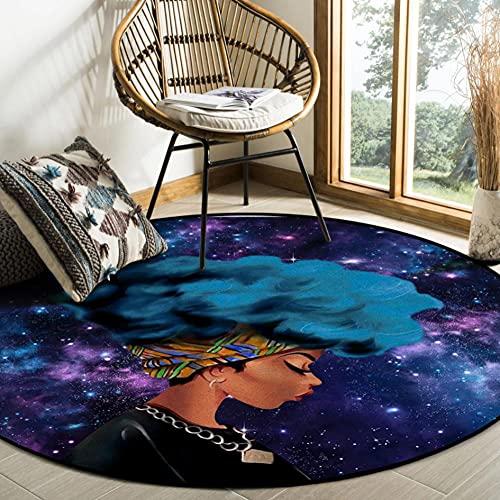 Alfombra Redonda de Cielo Estrellado Azul para Mujer Negra Africana para Sala de Estar Dormitorio Alfombrillas Antideslizantes para Silla para niños Felpudo para habitación-D 100