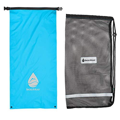Skog Å Kust SnorkelSåk 2-in-1 Mesh Snorkel Bag with Removable Interior Waterproof Dry Bag | Blue & Yellow 2-Pack