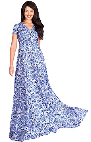 KOH KOH Plus Size Womens Long Flowy Modest V-Neck Short Cap Sleeve Casual Floor Length Bohemian Boho Damask Print Summer Sundress A-line Maternity Tall Maxi Dress Gown, Blue & Light Pink 2XL 18-20 (Modest Mother Of The Bride Dresses With Sleeves)