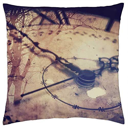 ETGeed Reloj de Tiempo, punteros de Reloj Antiguo Surrealista, Fundas de Almohada Vintage para sofá Cama, decoración del hogar, 18 x 18 Pulgadas