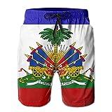 NiYoung Men's Comfort Cargo Short for Beach Athletic Surf Full Elastic Waist Fast Dry Drawstring Half Pants Summer Swimwear - Haiti Flag
