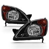 ACANII - For 2002 2003 2004 Honda CRV C-RV Headlights Headlamps Black Housing Replacement Driver & Passenger